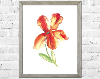 Flower Watercolor painting, Watercolor flower print, Abstract flower, Flower art, Red Yellow flower, Floral print, Watercolor art