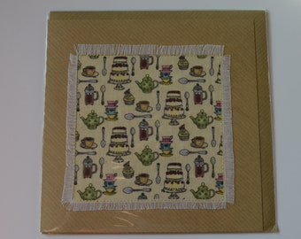 Teatime design fabric card