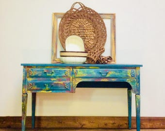 SOLD Refinished Hand Painted Vintage 1970's Slender Legs 3 Drawer Boho Blue, Yellow, Red, Eclectic, Writing Desk, Vanity