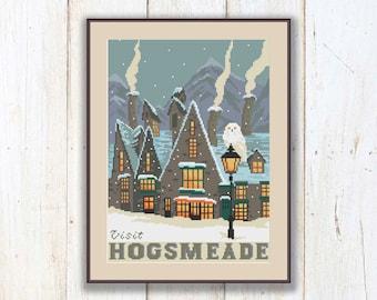 Hogsmeade Cross Stitch Pattern, Hogwarts School Pattern, Harry Potter Pattern, Modern Cross Stitch Pattern, Download PDF #hp016