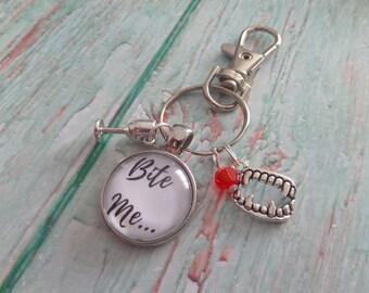 Vampire Diaries themed gift, vampire keyring, vampire favors, bite me gift, vampire fangs gift, vampire bite, halloween gift, sandykissesuk