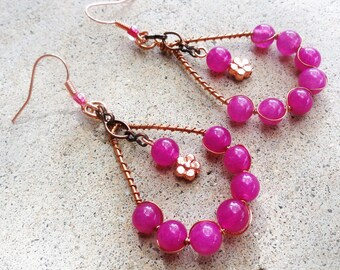 Hot Pink Copper Teardrop Earrings Wire-wrapped Handmade Dangle Earrings By Distinctly Daisy