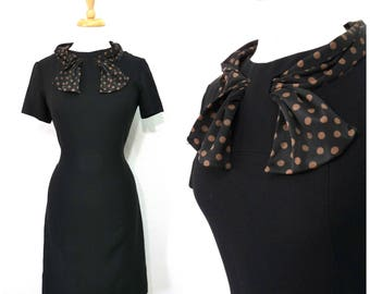 1950s dress - Black crepe Carl Naftal Original Polka dot scarf Wiggle party Vintage 50s dress S/M