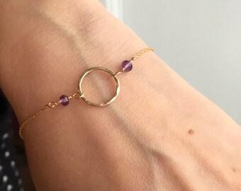 Amethyst bracelet birthstone, February birthstone jewelry for girlfriend gift daughter, delicate bracelet - Luna