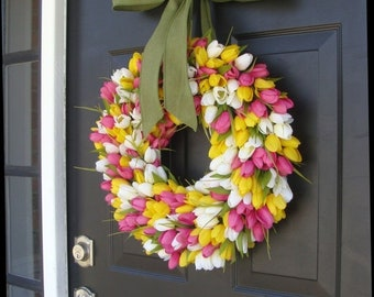 SUMMER WREATH SALE Spring Wreath- Summer Wreath- Mother's Day Gift- Summer Decor- Burlap Ribbon, Custom Colors The Original Tulip Wreath