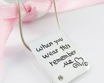 Love Message When you Wear this Remember Me Charm Necklace Snake Chain 44cm
