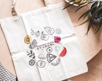 Tote bag fruits and vegetables, organic tote bag market bag for shopping