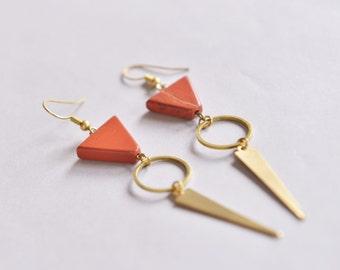 Triangle Earrings // Geometric Earrings // Geometric Jewelry // Dangle, Long Earrings // stone earrings // stone and metal earrings