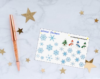 Winter Planner Stickers, Snowflake Stickers, Winter Stickers, Snowman Stickers, Vinyl Stickers