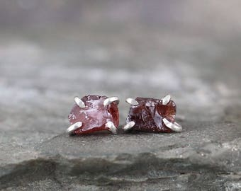 January Birthstone Garnet Earrings - Raw Garnet Stud Earring - Sterling Silver - Red Raw Gemstone Jewellery - Made in Canada