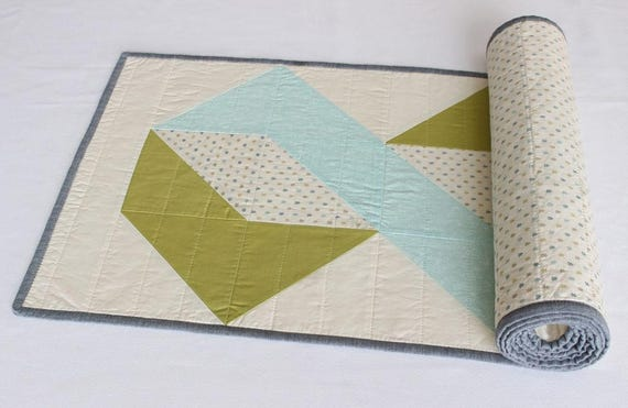 Reversible Blue Green Quilted Table Runner