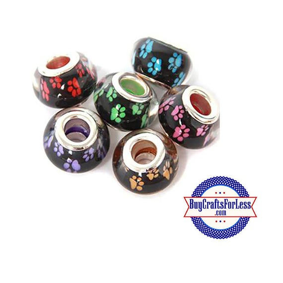 PAW Print Beads, Cat, Dog PAW Print, 4, 8, 12, 24 pcs asst'd colors +FREE Shipping & Discounts*