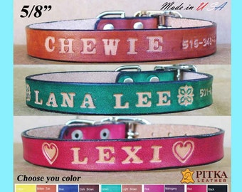 Small Dog Collars - Personalized Dog Collars for Small Dogs - Quality Leather Dog Collars with stamped Name 5/8 - Free shipping in USA