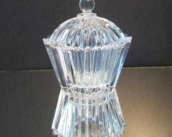 Ribbed Domed Trinket Box Candy Dish Cut Faceted Clear Glass Jewelry