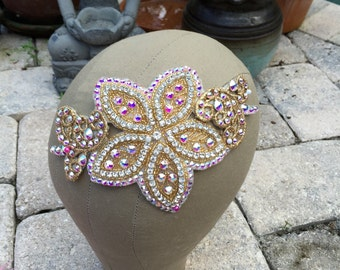 Gold Swarovski Crystal AB Flower Scroll Hairpiece