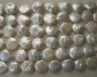 13-15mm Natural White Freshwater Coin Pearl PL130