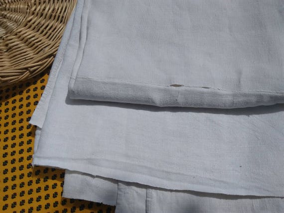 19th Century White French HEMP Fabric Sheet Tablecloth Curtain Panel Bed Cover #SophieLadyDeParis