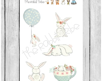Mini Sticker Sheet - sweet bunnies - planner stickers