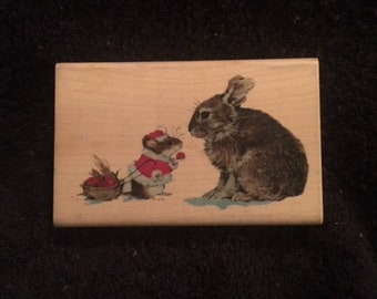 Uptown Design Current Critters Gift Exchange Christmas Mouse and Rabbit Rubber Stamp