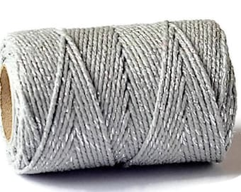 Silver Sparkle 2mm Cotton Bakers Twine *Sold Per 5mtr*