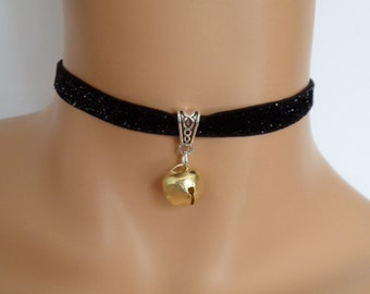 cat bell choker, black velvet choker, glitter necklace, elasticated ribbon, gold jingle bell