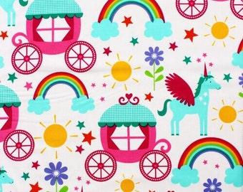 Rainbows and Unicorns Michael Miller 100% Cotton Fabric CX6339 FQ 1/2 Full Metre