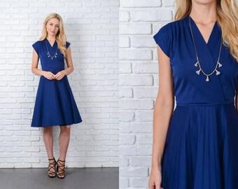 Vintage 70s Navy Blue Dress Pleated A Line Mod Medium M 9762 vintage dress 70s dress navy dress a line dress mod dress