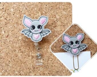 Cute Bat Badge Reel, Halloween ID Badge Reel,  Felt Badge Reel, Retractable Name Holder, Nurses, Doctors, 841