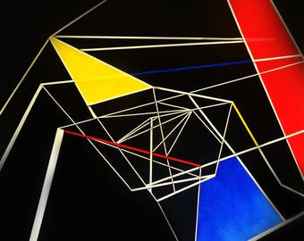 Unique, Geometric, Abstract, Painting on Large canvas by artist Simon Kenny 'Echoes In The Dark'