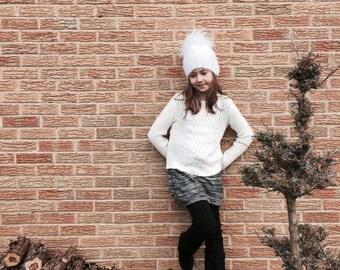 Knitted Real Fur Pom Pom Beanie Hat // Hand Knit Winter Hat // Handmade Natural Pom Pom Beanie