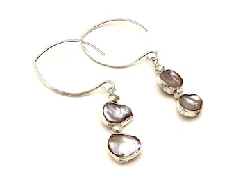 Sterling Silver Rimmed Freshwater Pearl Dangle Minimalist Earrings  for her Under 100 Free US Shipping and Gift Wrap