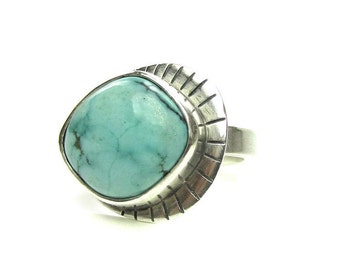 Sterling Silver Turquoise Ring - Blue Turquoise Ring - December Birthstone Ring - Ring for Women - Statement Ring - Evil Eye Ring - Size 9