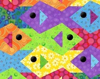 Tessellating Fish paper pieced quilt pattern PDF