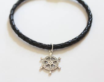 Leather Bracelet with Sterling Silver Ship Wheel Charm, Ship Wheel Bracelet, Ship Wheel Charm Bracelet, Ship's Wheel Bracelet, Boat Wheel