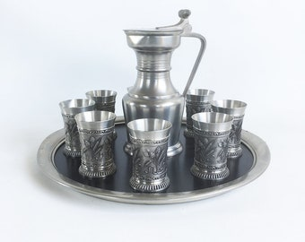 "Vintage Zinn-Stube Pewter Serving Set with Pitcher, 8 Cups and Serving Tray ""Swiss Made Craftsmanship"""
