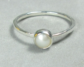 Sterling Silver Pearl Ring Small Pearl Stacking Ring June Birthstone Jewelry Sz 6 Daughter Gift for Her Girlfriend Sister Mother's Day Gift