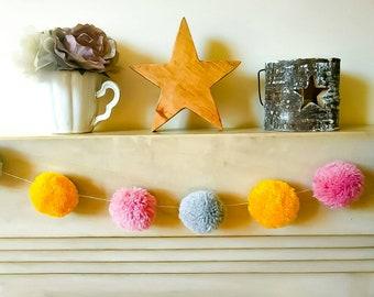 Pom pom garland bunting home decor pink grey yellow wedding nursery birthday