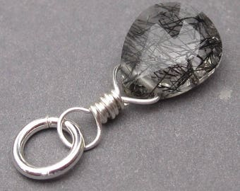 Black Rutilated Quartz Pendant, Rutilated Quartz Charm, Sterling Silver Wire Wrapped Pendant, Rutile Quartz,  Stone 108