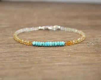 Citrine and Turquoise Bracelet, Citrine Jewelry, Shaded, Ombre, Beaded, November, December Birthstone, Gemstone Bracelet