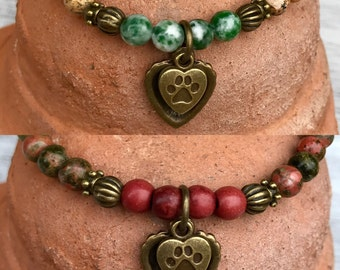Choose your gemstone dog lovers healing #yoga bracelet. Healing gemstone bracelet with dog paw and heart charms.