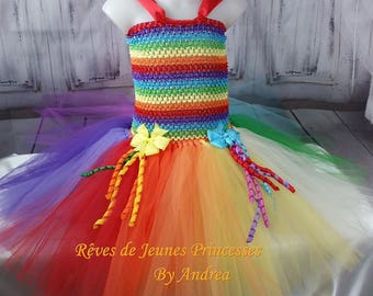 Costume girl dress in tulle multicolor carnival clown