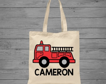 Firetruck Tote Bag | Fire Engine Tote Bag | Personalized Boy Bag | Toddler Tote Bag | Firetruck Book Bag | Firetruck Birthday | Brother Gift