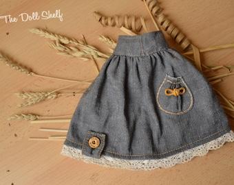 Blue denim skirt for doll 10 - 11 - 12 - 13 - 14 - 15 - 16 - 17 - 18 inch, Waldorf doll dress - Waldorf doll clothes - blue denim doll dress