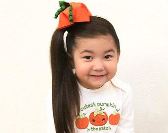 Pumpkin Hair Bow for Girls, Pumpkin Bow, Orange Pumpkin Children Holiday, MTM Gymbo Pumpkin Harvest, Pumpkin Patch Bow, Fall Harvest Bow
