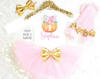 Fall Baby Outfit 1st Birthday Outfit Girls Pumpkin First Birthday Outfit Baby Girl Tutu Set Thanksgiving Outfit Pumpkin Tutu Pink and Gold
