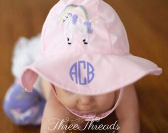Monogrammed Unicorn Girls Sunhat, Personalized Sunhat, Toddler Sunhat, Baby Sunhat, Baby Gift, Girls Sunhat