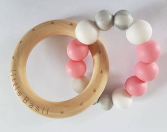 BPA free silicone baby teether PINK & MARBLE