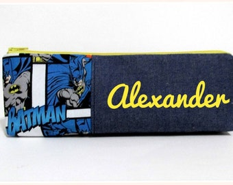 Handmade long pencil pouch with zipper - Batman in blue - unisex storage bag - back to school - birthday gift ideas - personalize with name