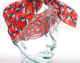 Retro Head Scarf Bandana - Vintage Scarlet Red Nautical Birds Georgette Chiffon Hair Wrap - Rockabilly Hair Accessories