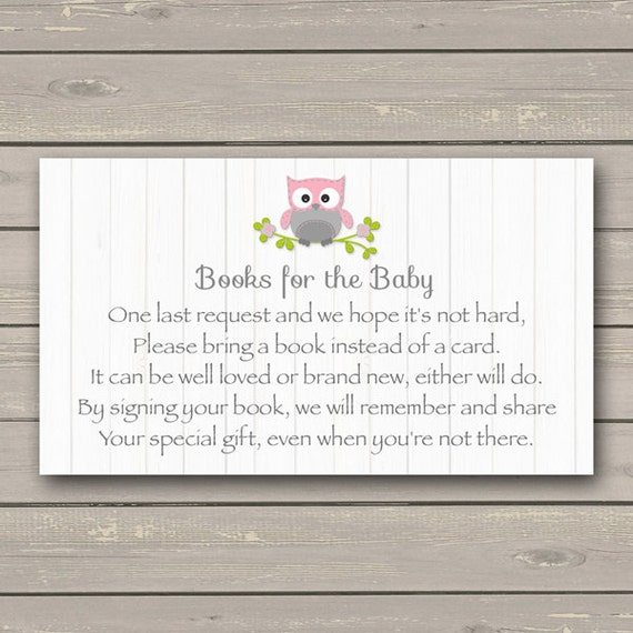 Owl Baby Shower Bring A Book Instead Of A Card Insert Pink Owl,Baby Shower  Book Request, Book Insert Instant Download Printable226